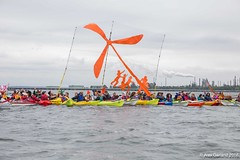 HQ Wind Turbine Raft-up with Tesoro Refinery in background at Break Free PNW 2016 photo by Alex Garland img_3694 (Backbone Campaign) Tags: water justice washington energy kayak break action politics protest creative paddle shell free social demonstration oil change wa environment activism anacortes campaign pnw refinery climatechange climate tesoro artful backbone renewable refineries 2016 kayaktivist kayaktivism breakfreepnw