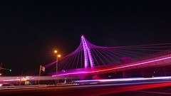 Steel structure footbridge - 3  (Taichung, Taiwan) (rightway20150101) Tags: bridge pink architecture night landscape footbridge steel taiwan structure taichung