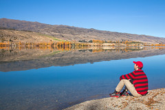Me On The Shores Of Lake Dunstan || CROMWELL || NZ (rhyspope) Tags: new blue autumn lake pope reflection water island mirror skies south zealand nz rhys cromwell dunstan rhyspope