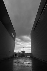 Between the lines (TBP-KIP1) Tags: city travel blackandwhite white black reflection building valencia monochrome lines clouds composition contrast port canon buildings reflections walking grey spain europe mediterranean industrial european skies harbour walk cities structure warehouse gloom dslr wandering seaport wander 70d canon70d