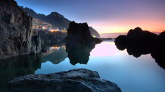 River Surrounded By Rocks HD Wallpaper (StylishHDwallpapers) Tags: sunset water river rocks stones surrounded