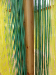 Chicago, Chicago Cultural Center, Latino Art Today, Colorful Wood/String Sculpture (Mary Warren (6.8+ Million Views)) Tags: wood sculpture abstract green art lines yellow colorful chicgao chicagoculturalcenter