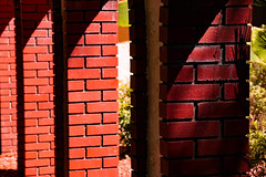 Standing Strong (Sonia'sGallery) Tags: red plants brick garden outdoors flickr florida bricks columns sunny courtyard pillars brickwork redbrick ocala ocalaflorida brickpillars soniagallery soniaargenio bysoniaa