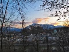 Evening over Salzburg (echumachenco) Tags: sunset salzburg clouds austria österreich sonnenuntergang wolken altstadt fortress soe festung abendrot musictomyeyes autofocus untersberg hohensalzburg historicalcity kapuzinerberg flickraward basteiweg eveningpink mygearandme ringexcellence