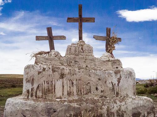 Crosses in front of the church - Isluga church - Salar de Surire
