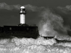 Boiling Point. (paul downing) Tags: lighthouse storm photoshop canon spring waves cs2 tritone northsea redcar pdp southgare coastaluk pd1001 sx10is pauldowning