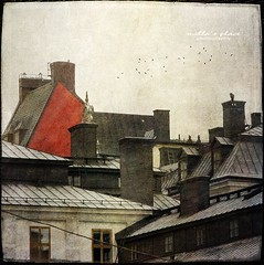Red House (Milla's Place) Tags: old city birds thanks buildings rooftops sweden stockholm sdermalm redhouse roofs textures chimneys textured distressedjewell kerstinfrankart lenabemanna ramllep