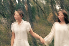 ghosts (Katie Tarpey) Tags: girls white blur lost bush pretty australia double ethereal shutter trippy videoclip musicvideo otherworldly foolsgold holdhands thetoottoottoots
