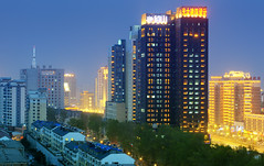 Changchun at night . Changchun China (Tony Shi.) Tags: china city light urban skyline night buildings chinese    changchun   manchu           manchurua
