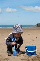 Sandcastles (Kninki) Tags: sea sky beach clouds bucket sand broadhaven spade sunhat boychild hpad 160512
