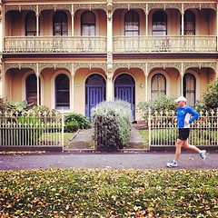 Man running. Parkville, Melbourne (Steven Pam) Tags: man architecture square terrace victorian melbourne running squareformat rise parkville iphoneography instagramapp uploaded:by=instagram