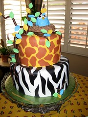 Jungle Owl Baby Shower Cake (Elegant Cake Creations AZ) Tags: arizona phoenix leaves round zebra giraffe birdnest babyboy treeoflife fondant babyowl babyshowercake blueowl 2tier jungleprints customcake elegantcakecreations