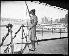 Mrs John Roxborough posing on the deck of HNLMS JAVA, 10 October 1930 (Australian National Maritime Museum on The Commons) Tags: dutch vintage sydneyharbour sydneyharbourbridge roxborough vintageclothing bayles vintagefashion dutchnavy vintagehats harbourscenes navalvessel royalnetherlandsnavy 1920sclothing 1930sclothing hnlmsderuyter westcircularquay hnlmsjava samueljhoodcollection thekoninklijkemarine hnlmseversten dutchnavyvisittosydney rearadmiralcckayser mrsjroxburgh mrsjohnroxborough