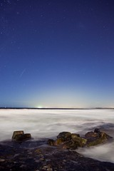 star charged. (life in still.) Tags: blue light white beach rock night star space vast