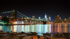 Night in the City (DPGold Photos) Tags: nyc newyorkcity longexposure travel bridge ny newyork reflection building skyline brooklyn night cityscape nightscape manhattan brooklynbridge eastriver dpgoldphotos