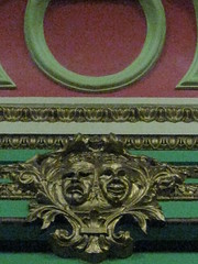 Gilt Masks of Tragedy and Comedy Over the Stage of the Lecture Theatre of the Ballarat Mechanics' Institute - Sturt Street, Ballarat (raaen99) Tags: city red detail building green heritage century gold hall education comedy mask theatre library stage australia victoria garland institute masks national tragedy victoriana trust civic classical ornate lecture 1850s theatrical ballarat 19th goldrush listed gilt lecturehall banding ornamentation nineteenth 1859 countryvictoria lecturetheatre mechanicsinstitute freelibrary adulteducation jadegreen sturtstreet heritageweekend sturtst russett goldrushera provincialvictoria ballaratmechanicsinstitute maskoftragedy educationalestablishment maskofcomedy ballaratheritageweekend boisery technicalinstitution landmarkbuildingarchitecture historyhistoricaldecoration1860s1870s