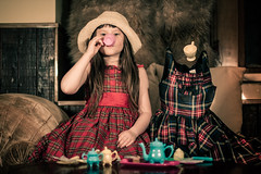 Imaginary Friend Tea Party (Kilkennycat) Tags: girl canon friend child tea 50mm14 teapot imagination plaid teaparty teaset pretend 500d imaginaryfriend partydresses t1i