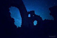 nightscape with castle silhouette on starry night sky (SergeyIT) Tags: old longexposure blue light sky moon black green tower castle history window nature grass silhouette wall mystery night dark stars landscape outdoors photography evening twilight ancient shiny exposure heaven glow arch view place nightscape image fort dusk stones citadel infinity space magic deep culture bluesky nobody twinkle scene ukraine medieval astro historic sparkle galaxy astrophotography planet astronomy glowing shape universe past crimea cosmic starry cosmos astrology milkyway starlight spacescape starrynightsky