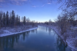 fresh snow on the Elbow river