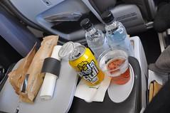 Eating Well (sfPhotocraft) Tags: water beer plane burgers waterbottles airlinefood icelandair 2014 canofbeer premiumeconomy gullbeer