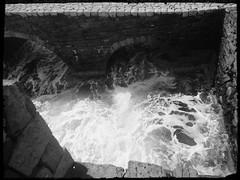 (annasala) Tags: sea blackandwhite castle waves greece kalamata bricked