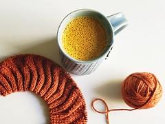Morning cuppa. (jenschuetz) Tags: coffee breakfast diy healthy knitting drink beverage craft hobby yarn butter turmeric ravelry