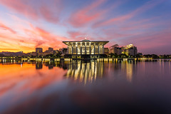 Blissful Morning at Iron Mosque (HakiimMislam) Tags: morning light sky cloud sun lake reflection architecture sunrise canon sony islam mosque putrajaya hdr islamic widenangle