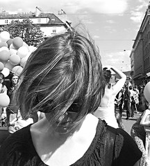 Windy (Eric_G73) Tags: street portrait people blackandwhite bw face hair wind manif