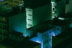 Johannesburg (elsableda) Tags: city blue windows light shadow urban green rooftop night canon southafrica lights long exposure cityscape view johannesburg joburg