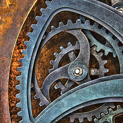 Always Turning (studioferullo) Tags: blue brown abstract macro art texture beauty lines wheel metal contrast circle design rust colorful pretty pattern bright arc gear line machinery minimalism curve gears