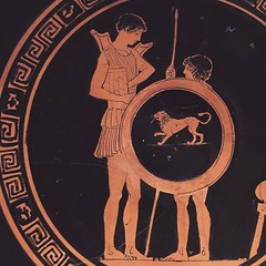 My heart is an ocean of sadness. There's nothing to say, nothing to do. They always get you in the end.  Drinking cup, attributed to Lyandros. Youth arming while a boy holds his shield and spear. Ca. 450 BC, @metmuseum. #prayfororlando (rokorumora) Tags: ocean ca boy get cup youth sadness is do bc heart you drinking an end his  while always shield they nothing say 450 holds spear theres metmuseum attributed my arming lyandros prayfororlando