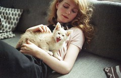Almost calm - but so tired (worteinbildern) Tags: analog cat 35mm cozy kitten willow tired