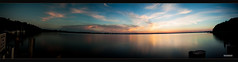 Dmmerung am Mggelsee (MLursus) Tags: blue panorama orange berlin water clouds germany wasser wolken dmmerung blau sonnenaufgang 2016 mggelsee mlursus