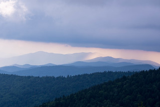 Rain passes the Blue Ridge Mountains