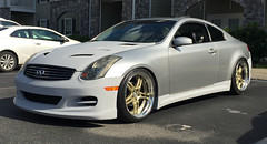 IMG_2962 (zerafian) Tags: chicken work gold wheels front og bumper hood cs hd g35 lowered durandal infiniti classy impul champes dd52 motordyne