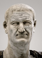 Ancient Rome. Marble portrait of 9th Emperor Vespasian (Titus Flavius Vespasianus) (b. 9AD, r. 69-79 AD), founder of Flavian Dynasty (mike catalonian) Tags: head marble dynasty emperor vespasian ancientrome flavian 1stcenturyad