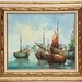 258. Artist Signed Harbor Scene Oil on Canvas