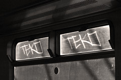 Teko (Alex Ellison) Tags: london window train graffiti tag etch teko