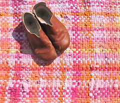 Handwoven Recycled T Shirt Rag Rug (fiveforty) Tags: pink orange canada yellow shirt t spring colours recycled housewares friendly rug plaid eco rag handwoven ragrug fiveforty