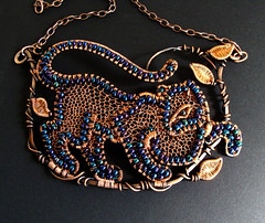 Panther Necklace - Bead Dreams 2012 Finalist (Ruth Jensen) Tags: necklace recycled jewelry bigcat jaguar panther finalist wiresculpture junglecat wirewrapped beaddreams beadandbutton sparkflight ruthjensen