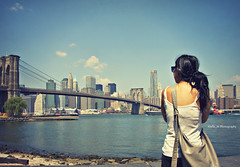 Contemplation Brooklyn Bridge (Xtelle_m) Tags: voyage street city nyc newyorkcity trip bridge summer sky usa ny newyork motion blur france color cars love apple brooklyn america restaurant town fly us store colorful outdoor manhattan cab taxi restaurants july fast happiness streetlife jfk business ciel american airbus a380 williamsburg vol lovely stores avenue été cabs aeroport loud juillet bigapple boarding banc bigcity williamsburgbridge airfrance 2010 roissy cdg aiport delis marcjacob embarquement bigcitylife newyorkphotography xtelle xtellem af006 juillet2010 hectiv