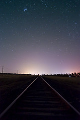 View towards Pleiades (Indigo Skies Photography) Tags: light sky colour night stars photography flickr railway australia victoria nighttime astronomy colourful pleiades echuca southernsky raychristy