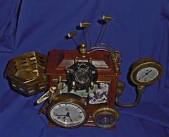 Steampunk Desk Clock 4 (sundogrr) Tags: camera wood clock lens victoria steam queen thermometer brass gauge cuckoo gage steampunk neovictorian