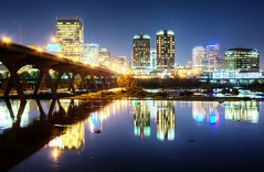 RVA Summer Night - Richmond VA on the James (Sky Noir) Tags: road city travel bridge trees usa nature horizontal skyline architecture night buildings reflections outdoors photography lights virginia us cityscape unitedstates unitedstatesofamerica richmond clear va tall rva jamesriver