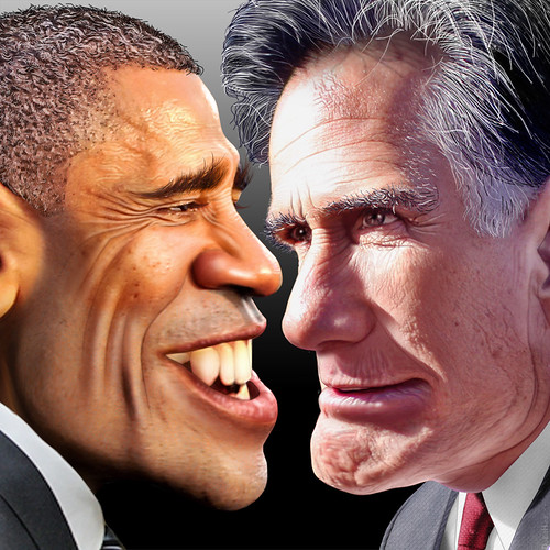 Barack Obama vs. Mitt Romney 2012 by DonkeyHotey, on Flickr