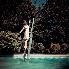 spring was never waiting for us dear, it ran one step ahead as we followed in the dance (sparkleplenty_fotos) Tags: music woman selfportrait wet water pool dress singing voice climbing ladder donnasummer macarthurpark