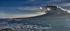 Mount Fuji with cloud and light (dopplegangle) Tags: light cloud mountain japan landscape cityscape fuji kawaguchilake