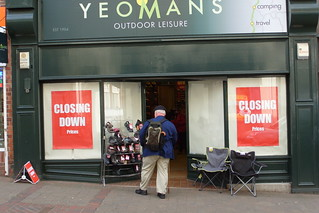 WHAT A CARRY ON ! ILKESTON'S FORMER ARMY AND NAVY STORE - YOEMAN'S  ON BATH STREET . In May 2012 many shoppers feared that the once important and very busy old shop might be about to cease trading  !