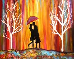 Romance in the Rain II (artbymanjiri) Tags: pink blue autumn trees orange love rain umbrella valentine romance romantic