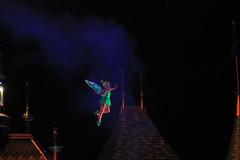 Tinker Bell flies above Sleeping Beauty Castle during Magical (Castles, Capes & Clones) Tags: california tinkerbell disney anaheim magical fantasyland mainstreetusa sleepingbeautycastle disneylandresort magicaldisneysnighttimefireworksspectacular disneyfireworksspectacular